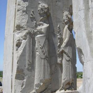Palast des Xerxes, Persepolis, vorderer Diener mit Salbgefäß und Handtuch