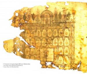 Koranseite mit ganzseitigem Bild einer Hofmoschee, aus einem umayyadischen Prachtkoran (wohl Anfang 8. Jh.), Sanaa, Haus der Handschriften