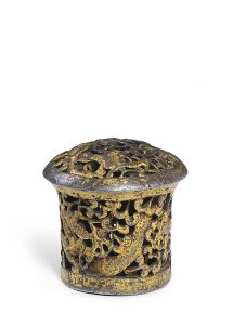 Endkappe einer Thangkastange, wohl 15. Jh., Tibet-Sammlung Buddeberg