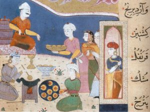 Sambsa (fried, filled pastries) being prepared for Sultan Ghiyath, shown seated on a stool.